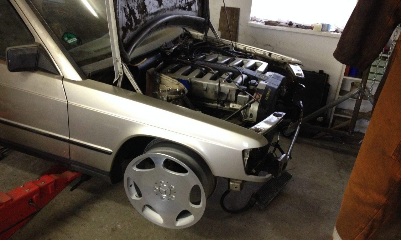Mercedes 190 V12 front suspension done