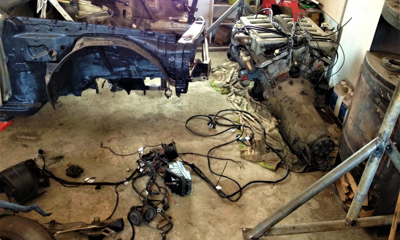 Mercedes w201 V12 Project-Build last chassis mod. wiring loom removed
