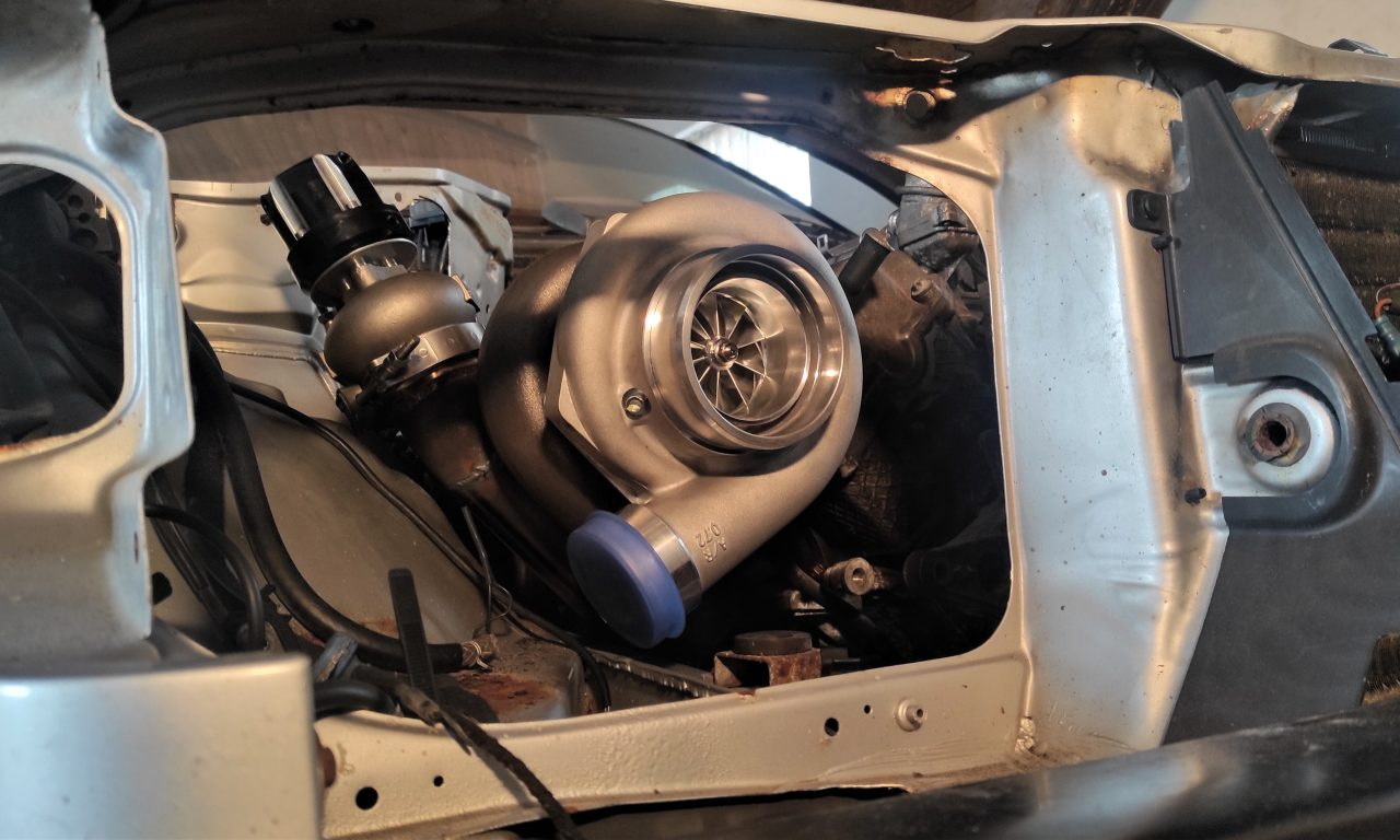Mercedes M113 V8 Turbo & Wastgate in place