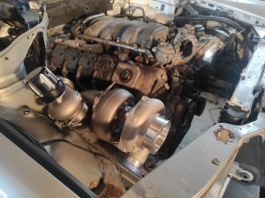 Mercedes M113 V8 Turbo & Wastgate in place 7