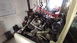 M102 engine removed. space for the V8 turbo 28