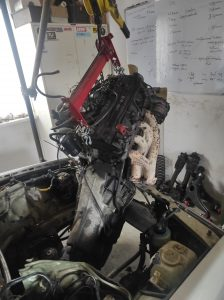 M102 engine removed. space for the V8 turbo 34